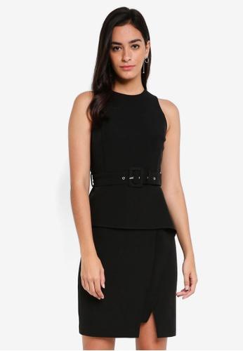 ZALORA black Belted Peplum Dress A550EAA6CD9B2DGS_1