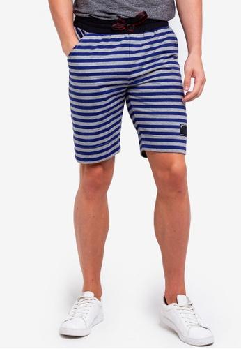 UniqTee 海軍藍色 抽繩短褲 8895AAA01A42F6GS_1