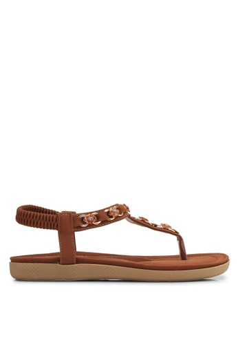 Spiffy brown Floral T-Strap Sandals SP352SH0SRWYMY_1