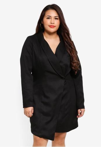 Plus Size Asymmetric Blazer Dress