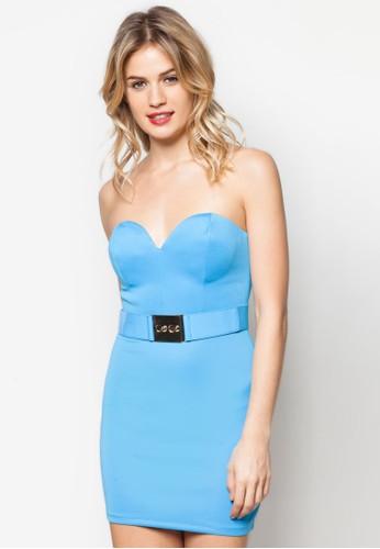 露肩腰帶貼zalora 衣服尺寸身洋裝, 服飾, 洋裝