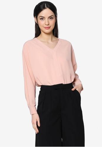 ZALIA BASICS pink V-Neck Placket Blouse B0E1FAA5AE87D4GS_1