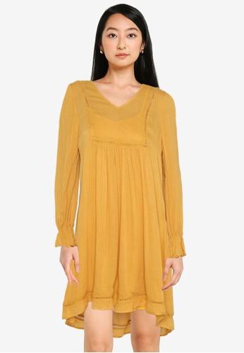 ZALORA BASICS yellow Lace Trim Dress 3BD9EAAF636771GS_1