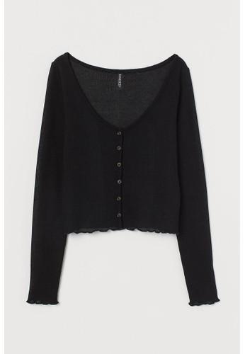 H&M black Fitted cardigan 035B9AA6B4789DGS_1