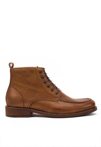 Twenty Eight Shoes brown Vintage Full Grain Leather Brogue Boot 618-51 FA763SH9EE305DGS_1