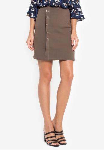 LA VIDA MODA brown Tulum Short Skirt with Side Buttons 2FF0EAADE2B635GS_1