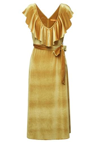 LANG&LU yellow Corset Sleeveless Dress 2D5F3AA89F3F22GS_1