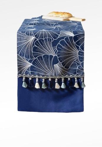 Ayra Home & Living blue Blue Seashell Design Table Runner Drape with Tassle 91887HL22257D3GS_1