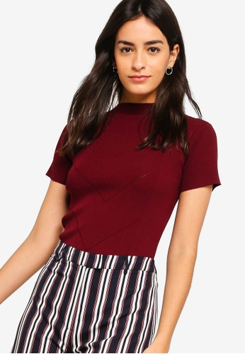 ZALORA BASICS red High Neck Short Sleeves Jumper 79BA8AA9FFA49CGS_1