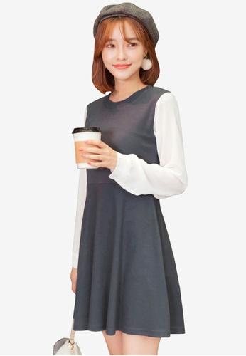 Tokichoi grey Colourblock Sweater Dress 50590AACECD32CGS_1
