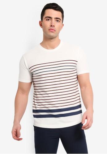 MANGO Man white Striped Cotton T-Shirt 9CA8EAA4E783C9GS_1