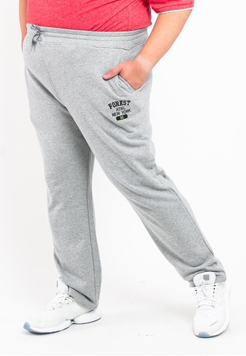 FOREST grey Forest Plus Size Jogger Pants - 10621-Melange Grey 88D6EAA8AA548CGS_1