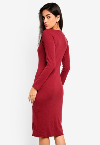 143d7d9a7d Shop MISSGUIDED Ribbed Square Neck Midi Dress Online on ZALORA ...