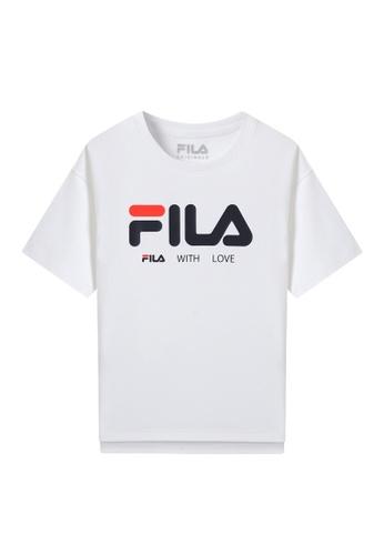 FILA white FILA KIDS FILA LOGO Dropped Shoulder Cotton T-shirt 6-13yrs C6F66KAC7FBA0DGS_1