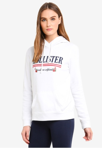 Hollister white Print Logo Popover Hoodie EB373AABAA1F26GS_1