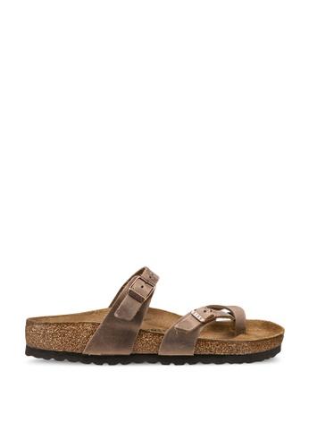 Birkenstock brown Mayari Oiled Leather Sandals 82123SH6E2F2E8GS_1