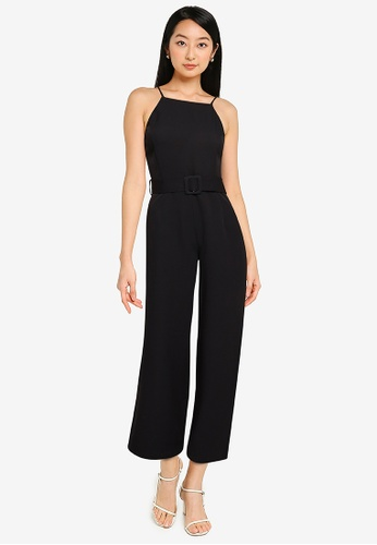 ZALORA BASICS black Belted Halter Neck Jumpsuit DD911AAF6F4576GS_1