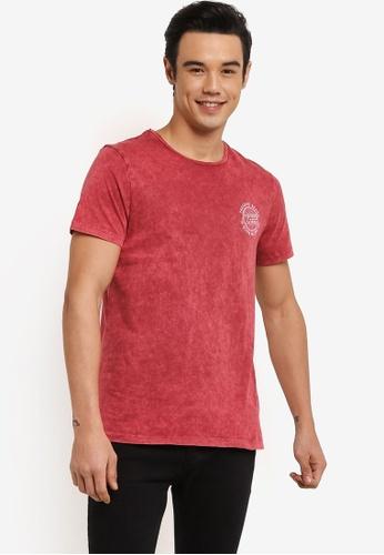 Burton Menswear London red Red Acid Wash Chest Print T-Shirt BU964AA0RH93MY_1