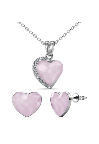 Her Jewellery pink Fond Love Set (Opal Pink) - Made with premium grade crystals from Austria 06AEFACB50504DGS_1