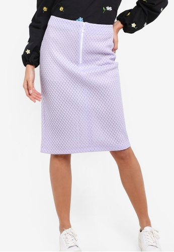 TOPSHOP purple Honeycomb Pencil Midi Skirt TO412AA86NTLMY_1