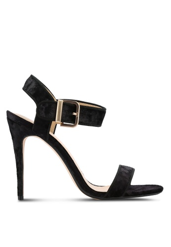 ZALORA black Velvet Ankle Strap Heels 34430SHDD5489FGS_1