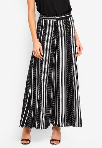 bYSI black Dotted Stripe Wide Leg Trousers F04A2AAE0C9EDBGS_1