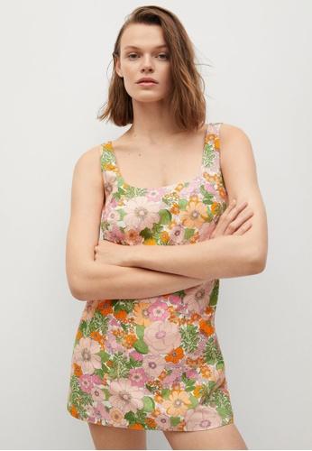 Mango orange Floral Print Jumpsuit 626F5AA8A44686GS_1