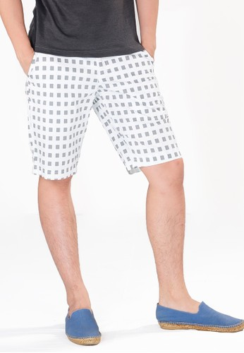SJO & SIMPAPLY white SPP New Maxwell White Square Men's Short Pants 04CC0AACB9CC8EGS_1