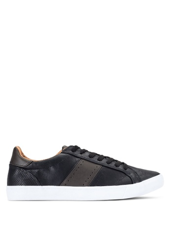 TOPMAN black Black Faux Leather Trainers TO413SH29ODIMY_1