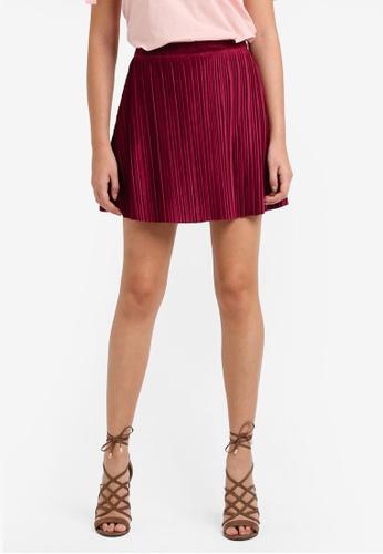 Something Borrowed red Pleated Mini Skirt 15F77AA9DE7ED6GS_1