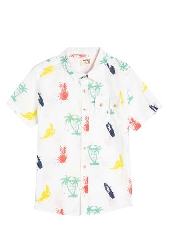 KOTON white Printed Short Sleeve Shirt 70635KA3341B92GS_1