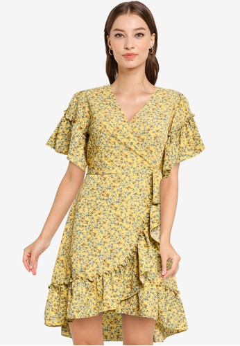 Max Studio yellow and green and blue Crepe Ruffle Short Sleeves Wrap Short Dress 79161AA3A7591CGS_1