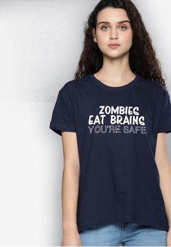 Greatvalueplus blue Zombies Eat Brain Women's Round Neck Statement T-Shirt 8D3CEAA6478390GS_1