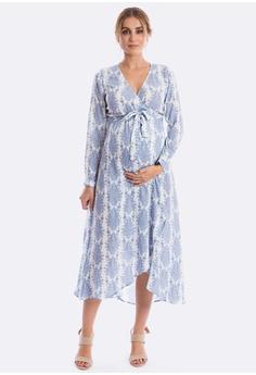 b52e94ac9ef85 Maive & Bo blue Harlow Maternity Dress in Vintage Belle (Long Sleeve)  46E60AA8577C3DGS_1
