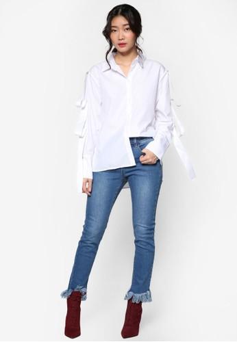 韓風格esprit 面試緞帶飾鈕扣長袖襯衫, 服飾, 上衣