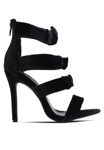 Velvet black Satin Strappy Heels 2E577ZZ95144A2GS_1