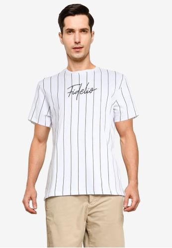 Fidelio white Vertical Lines Embroidery Tee A406DAA04E6BDDGS_1