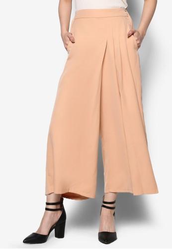 褶飾九分寬esprit 中文褲, 服飾, 長褲及內搭褲