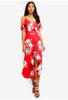 d5a1da6dbabfe bYSI red Botanical Print Ruched Dress 1B723AA8358CBCGS 1