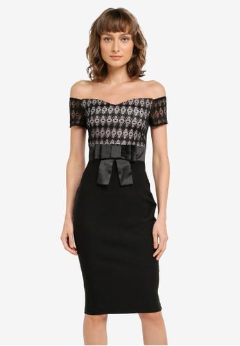 Vesper black Jessie Sweetheart Bow Waist Midi Dress VE733AA0SM28MY_1