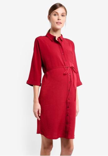 TOPSHOP red Maternity Kady Shirt Dress TO412AA0T0W9MY_1