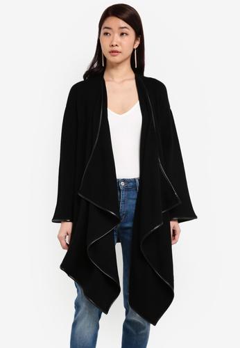 ZALORA black Contrast Trimmed Cardigan AD8DEZZ516E607GS_1