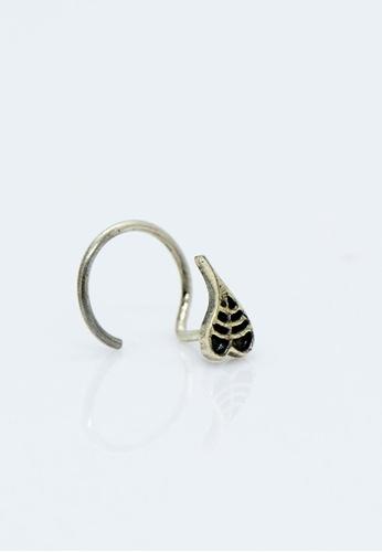Buy Aadyaa Singapore Nose Pin Peepal Leaf Black Pierced Online