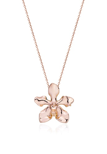 RISIS pink RISIS 18K Rose Gold Plated Natural Vanda Limbata Orchid Brooch/Pendant 68C33AC9B9191CGS_1