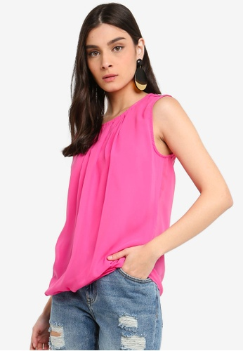 OVS pink Pleated Georgette Sleeveless Blouse FF3C5AA7E6F6B2GS_1