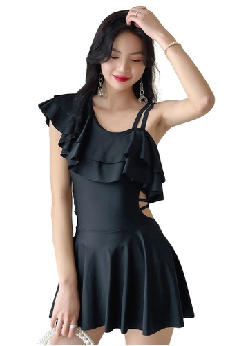 A-IN GIRLS black One-Shoulder Ruffled One-Piece Swimsuit 88CFFUS0A6235AGS_1
