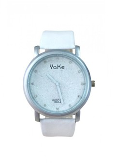 New Yake Leather Watch with Diamonds and Glitter Design