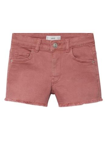 MANGO KIDS pink Frayed Hem Denim Shorts A32A3KA1999205GS_1