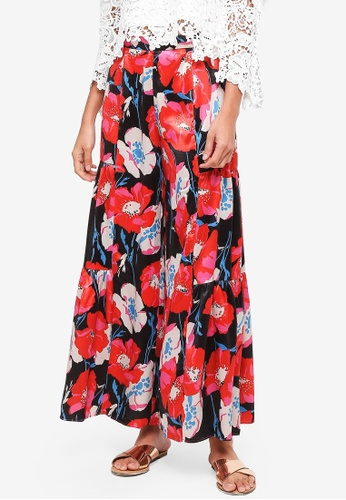 bYSI black Floral Bleed Flare Trousers 0ECCAAAA295806GS_1