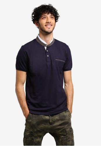 JAXON navy Grandad Collar Polo Shirt 54C17AAE85E8ECGS_1